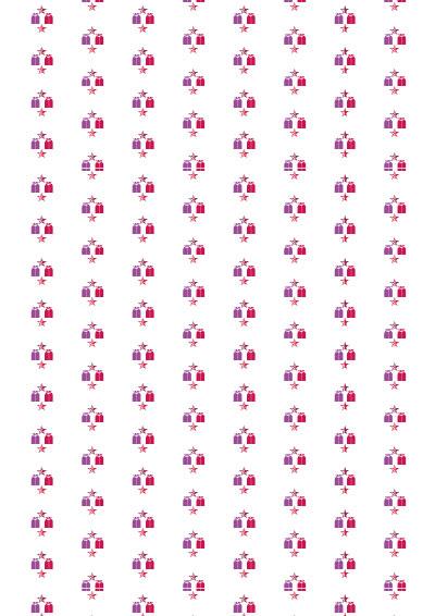 Geschenkpapier rosa, lila Pakete und Sterne zum selber ausdrucken - Gratis Download