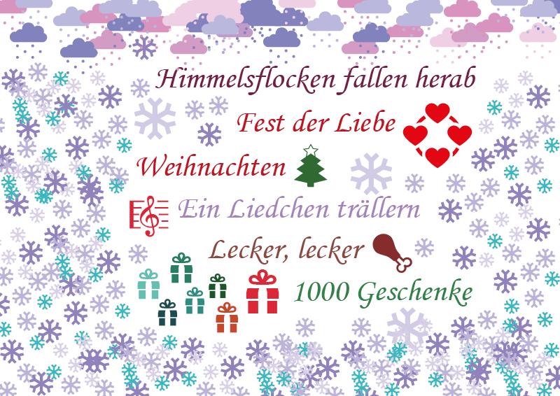 Geschenk und Grußkarte zu Weihnachten - mit Schneeflocken, Herzen