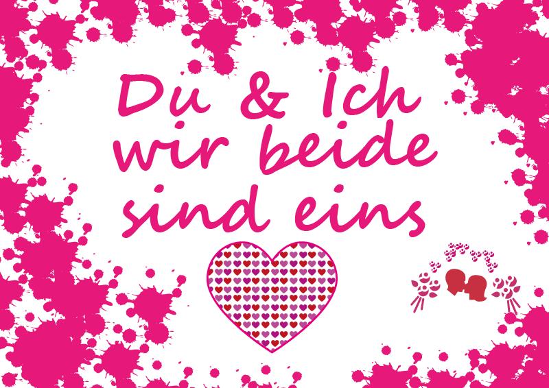 Schöne Geschenkkarte: Du & ich, wir beide sind eins. Ganz romantisch mit Rosa & Pink. Zum selbst ausdrucken.