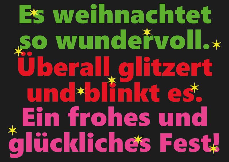 Weihnachts- Geschenk und Grußkarte gratis drucken Schwarz und Neo Farben