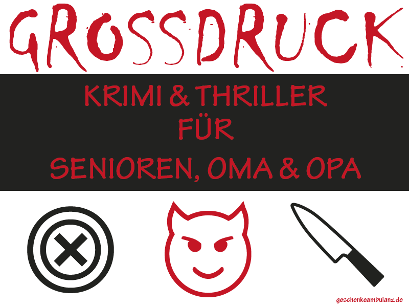 Grossdruck Krimis und Thriller. Bücher für Senioren