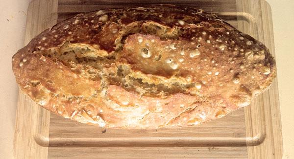 Fertiges Brot aus der Silikonbrotbackschale. Das Testergebnis