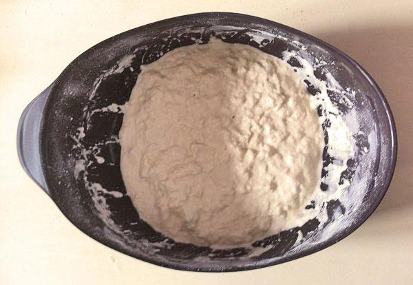 So sieht der frisch gerührte Teig in der Lekue Brotbackschale aus. Ohne Kneten nur gerührt