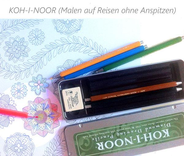Buntstifte für Erwachsene und für Unterwegs. Im Malbuch malen auf Reisen.