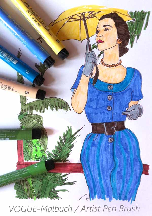 Mode Malbuch für Erwachsene (VOGUE) - Mit PITT Pen Brush Stiften ausgemalt