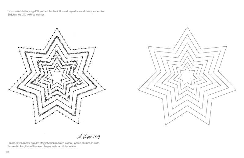 Sternen Bordueren und Muster zeichnen