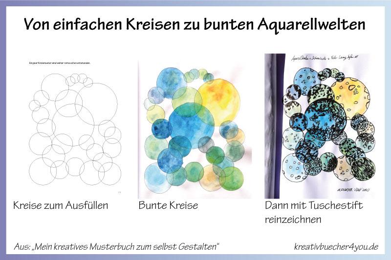 Besonderes Malbuch für Erwachsene bunte Kreise mit Aquarell ausgemalt