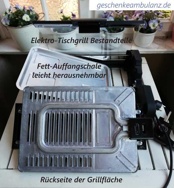 Elektro Tischgrill Bestandteile: Fettauffangschale, Grillfläche Rückseite, Deckel herausnehmbar