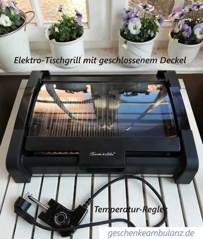 Elektro Tischgrill mit geschlossenem Deckel und Temperaturregler