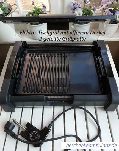 Elektro Tischgrill mit zwei Grillzonen und mit offenem Deckel