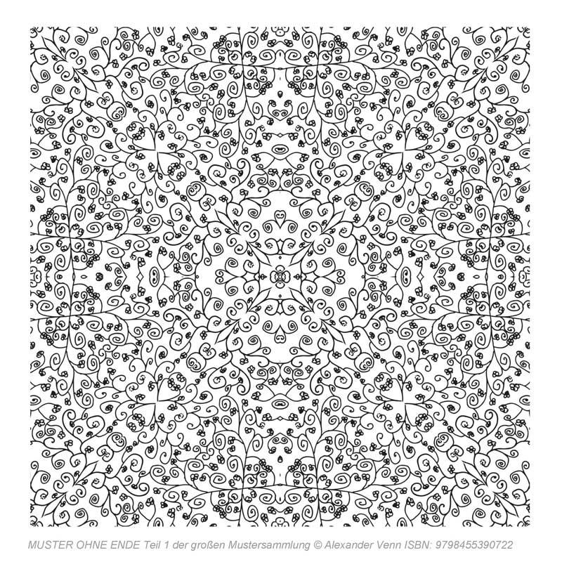 Komplexes Blumenmuster Zeichnung