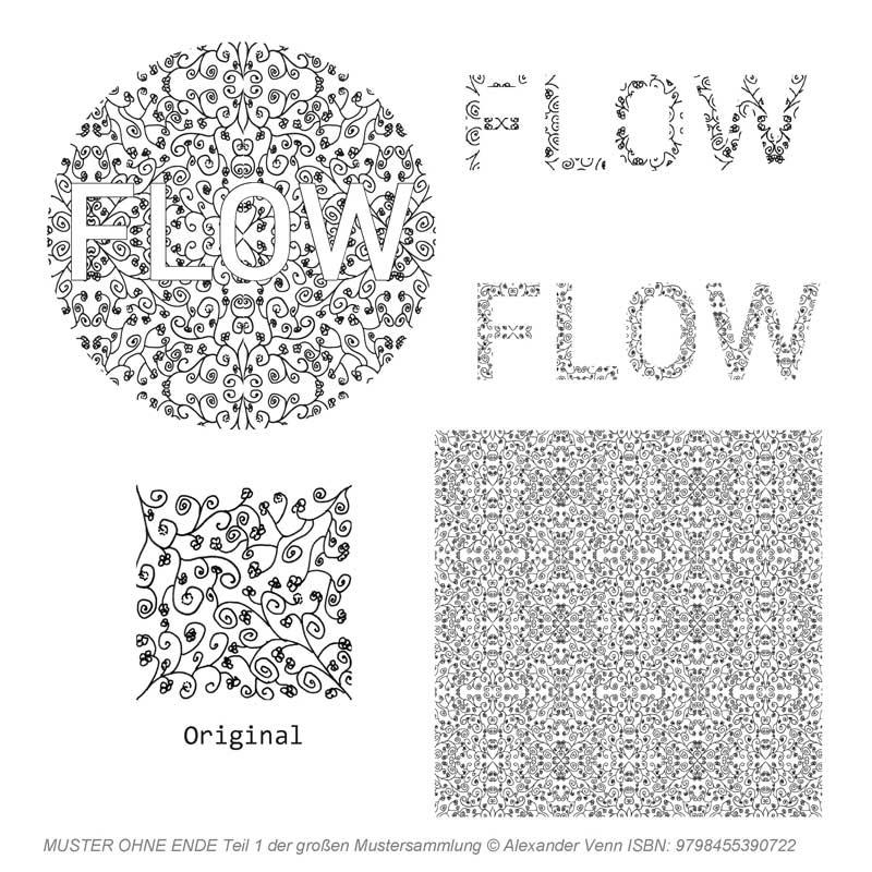 Blumenmuster und Wortbild mit Blumen